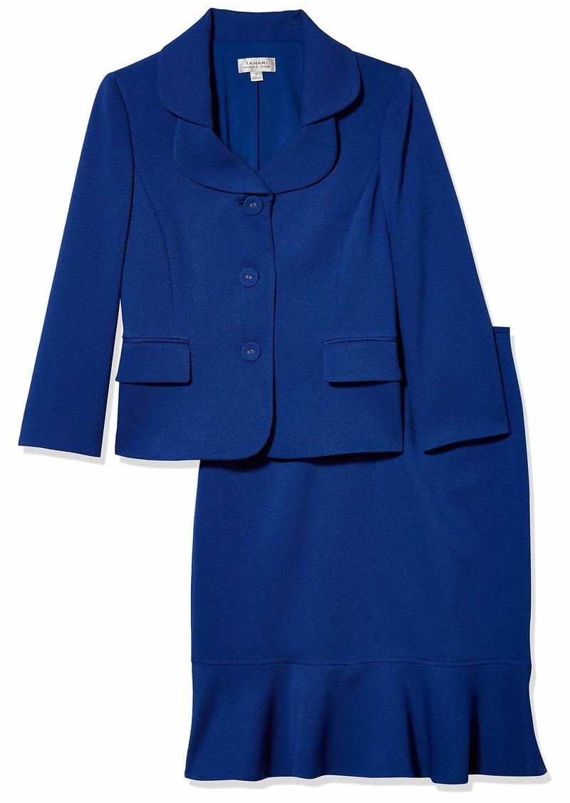 Tahari ASL Women's Nested 3 Button Jacket and Ruffle Skirt