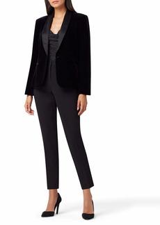 Tahari ASL Women's One Button Shawl Collar Velvet Knit Jacket