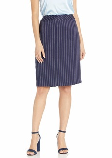 Tahari ASL Women's Pencil Skirt Navy White Pinstp TWD