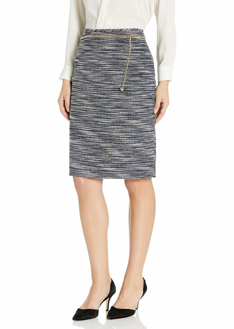 Tahari ASL Women's Pencil Skirt with Chain Belt