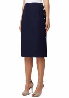 Tahari ASL Women's Pencil Skirt with Side Seam Button Detail