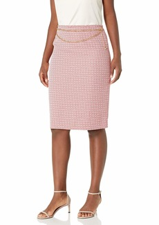 Tahari ASL Women's Petite Chain Belt Pencil Skirt  6P