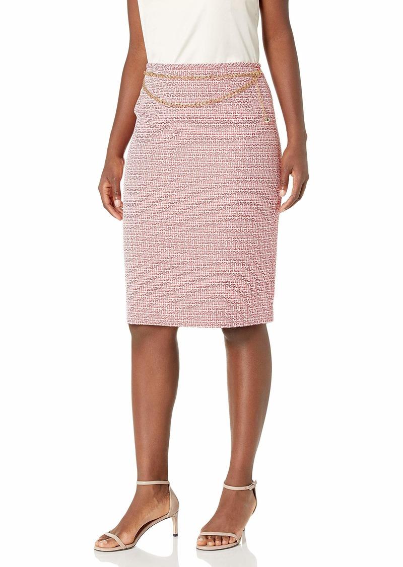 Tahari ASL Women's Petite Chain Belt Pencil Skirt  12P