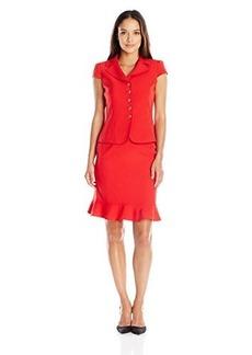 Tahari ASL Women's Petite Crepe Short Sleeve Skirt Suit