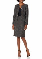 Tahari ASL Women's Petite Faux Double Breasted Peplum Jacket and Skirt Set  16P