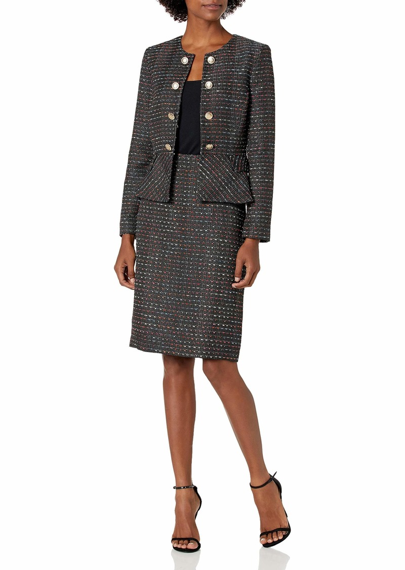 Tahari ASL Women's Petite Faux Double Breasted Peplum Jacket and Skirt Set  4P