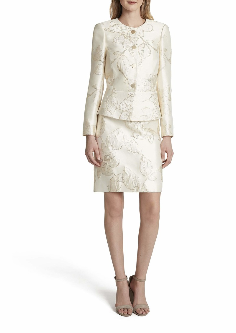 Tahari ASL Women's Nested 4 Button Jacket and A-Line Skirt
