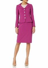 Tahari ASL Women's Petite Pebble Crepe 4 Button Jacket and Skirt Set  8P