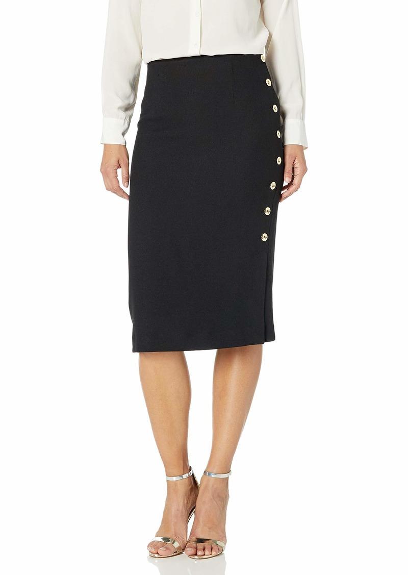 Tahari ASL Women's Petite Pencil Skirt with Side Seam Button Detail  2P