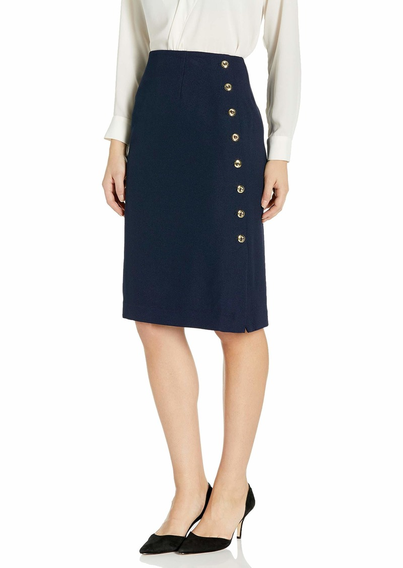 Tahari ASL Women's Pencil Skirt with Side Seam Button Detail