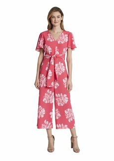 Tahari ASL Women's Short Flutter Sleeve V-Neck Floral Jumpsuit