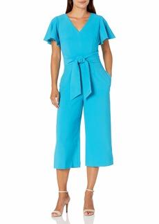 Tahari ASL Women's Petite Short Sleeve V-Neck Tie Front Jumpsuit  4P