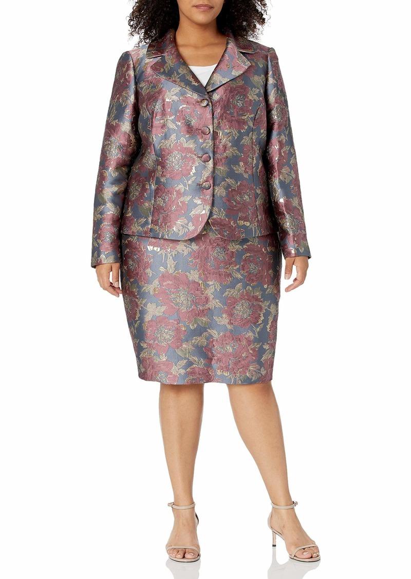Tahari ASL Women's Plus Size 4 Button Jacket and Skirt Set  W