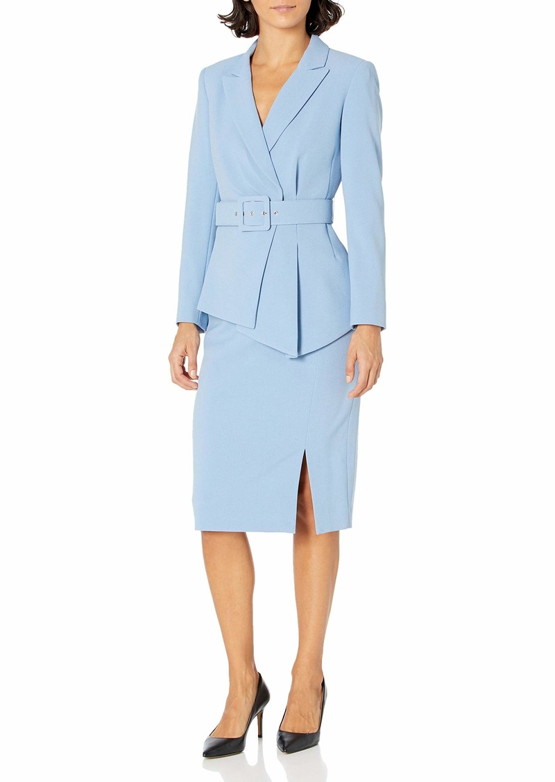 Tahari ASL Women's Plus Size Belted Notch Collar Jacket with Pencil Skirt Set  W
