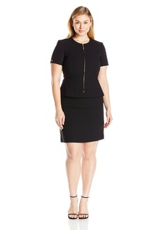 Tahari ASL Women's Crepe Short Sleeve Skirt Suit