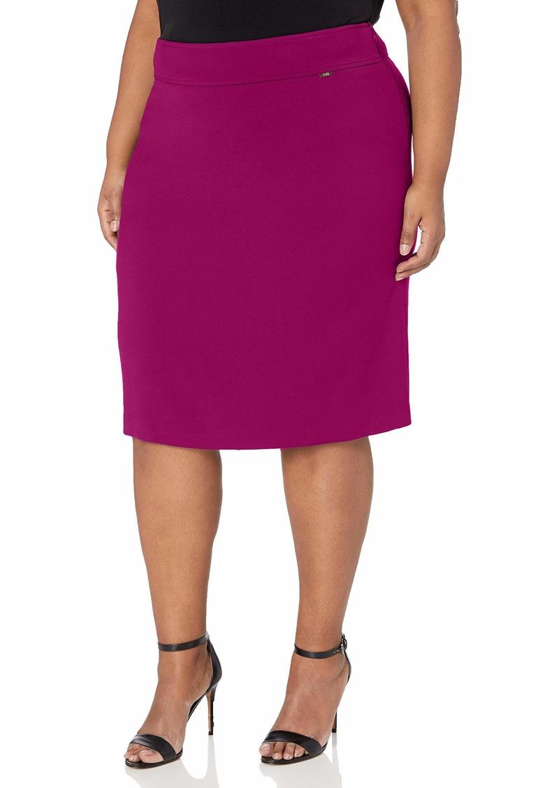 Tahari ASL Women's Plus Size Double Back Vent Pencil Skirt  W