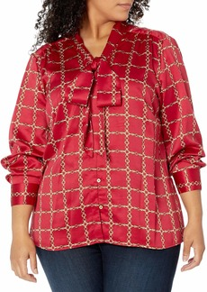 Tahari ASL Women's Plus Size Long Sleeve Low Bow Blouse in Chains Red Combo