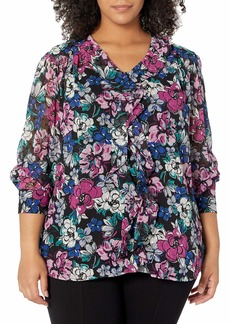 Tahari ASL Women's Plus Size Long Sleeve Ruffle Blouse