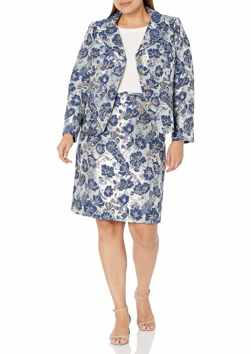 Tahari ASL Women's Nested 4 Button Jacquard Jacket and Pencil Skirt