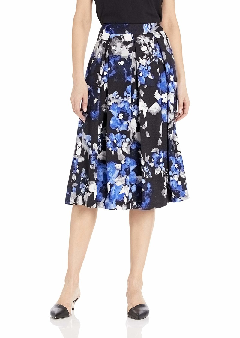 Tahari ASL Women's Printed Inverted MIDI Pleat Skirt