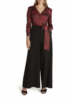 Tahari ASL Women's Puff Sleeve Surplus Print Jumpsuit