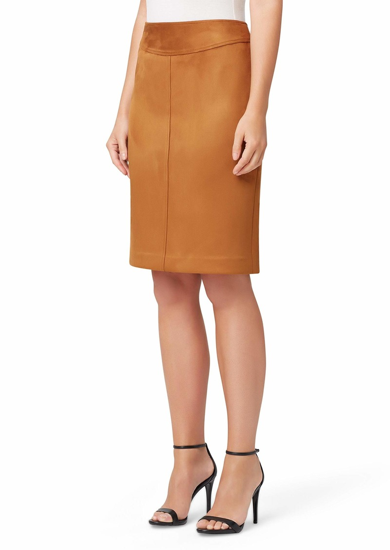 Tahari ASL Women's Seamed Faux Suede Pencil Skirt