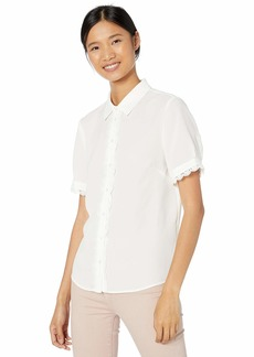 Tahari ASL Women's Short Sleeve Blouse with LACE Trim  M