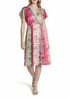 Tahari ASL Women's Short Sleeve Surplus Dress with Sunburst Pleat Skirt