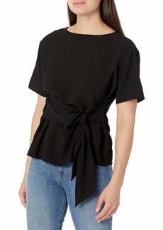Tahari ASL Women's Short Sleeve Tie Front Top  XL