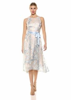 Tahari ASL Women's Sleeveless Embroid TIE Waist HI LO Dress