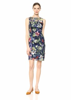 Tahari ASL Women's Sleeveless Embroidered Shift Dress