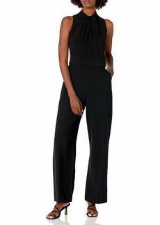 Tahari ASL Women's Sleeveless Fold Neck Self Belt Jumpsuit