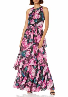 Tahari ASL Women's Sleeveless Ruched Neck Floral Print Tiered Gown