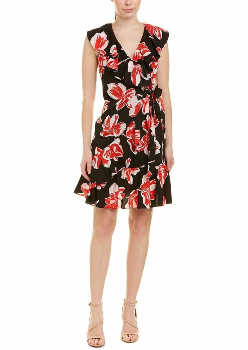 Tahari ASL Women's Sleeveless Ruffle WRAP Dress Painted Floral red