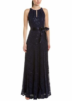 Tahari ASL Women's Sleeveless Sequin TIE SASH Gown