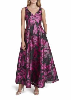 Tahari ASL Women's Sleeveless Sweetheart Neck Floral Print Gown