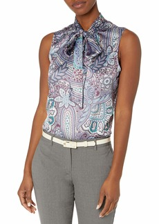 Tahari ASL Women's Sleeveless Tie Neck Blouse  XL