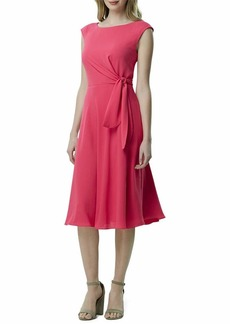 Tahari ASL Women's Sleeveless TIE Side Tea Length Dress