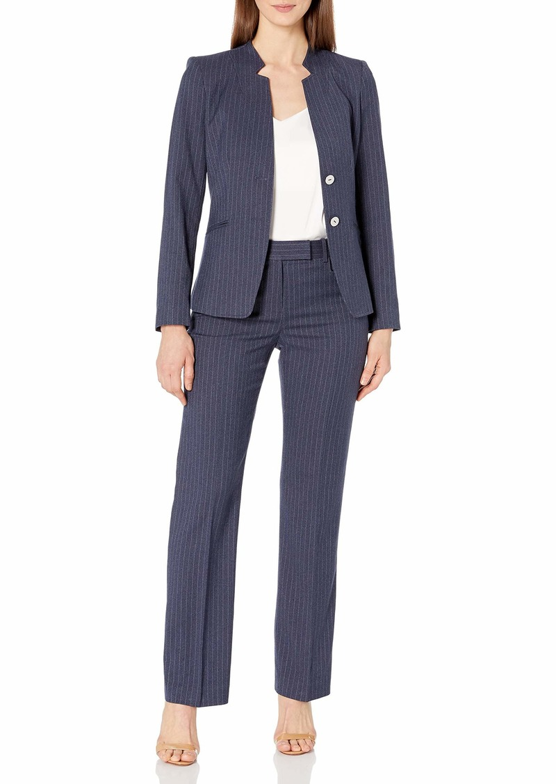 Tahari ASL Women's Star Collar  Button Jacket and Trouser Suit