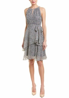 Tahari ASL Women's Tiny Flower Layered Dress W/SELF SASH