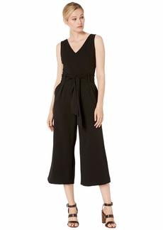 Tahari ASL Women's V Neck Belted Cropped Wide Leg Jumpsuit