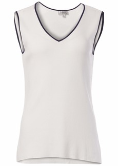 Tahari ASL Women's V-Neck Sleeveless Sweater with Contrast Tipping  L