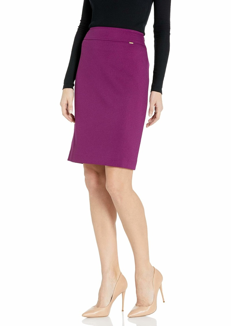 Tahari ASL Women's Wide Waistband Double Back Vent Pencil Skirt