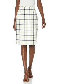 Tahari ASL Women's Windowpane Plaid Pencil Skirt