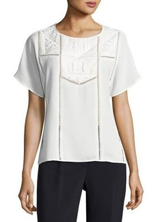 Tahari ASL Woven Bead-Embellished Novelty Blouse