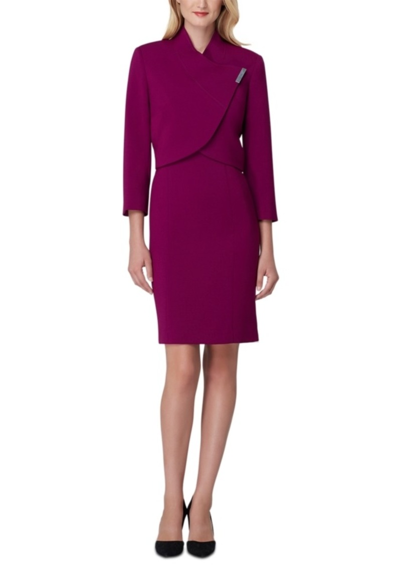 Tahari Asl Wrap-Jacket Dress Suit