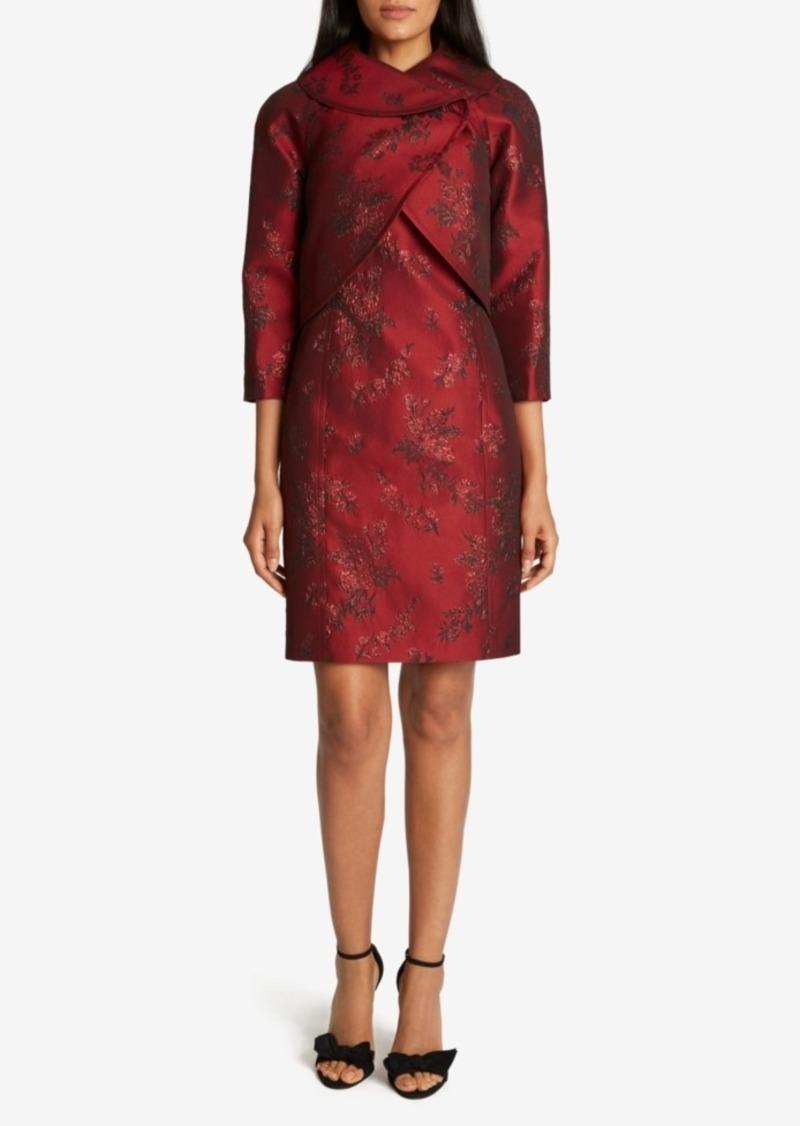 Tahari Asl Wrap Jacket Jacquard Dress Suit