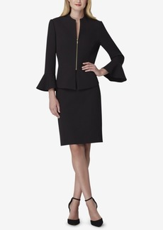 Tahari Asl Zip-Front Peplum Skirt Suit