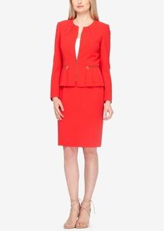 Tahari Asl Zip-Up Pleated Peplum Skirt Suit, Regular & Petite