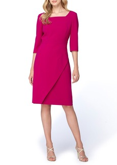 Tahari Asymmetrical Crepe Sheath Dress